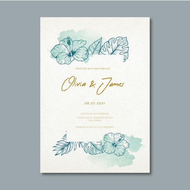 Uitnodiging voor bruiloft met florale versieringen Gratis Vector