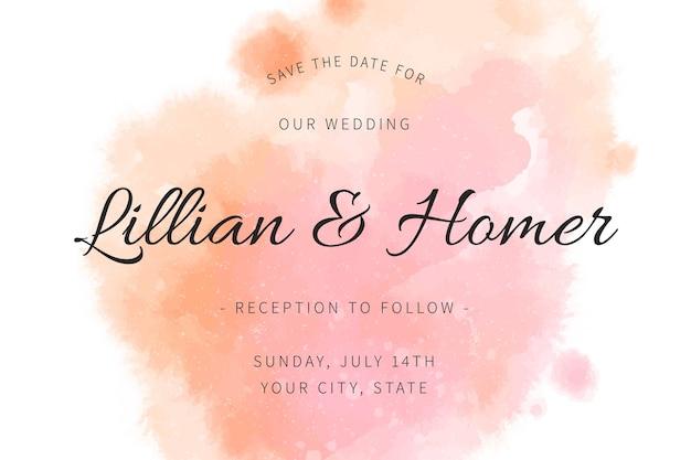 Uitnodiging voor bruiloft met kleurovergang aquarel roze vlekken Gratis Vector