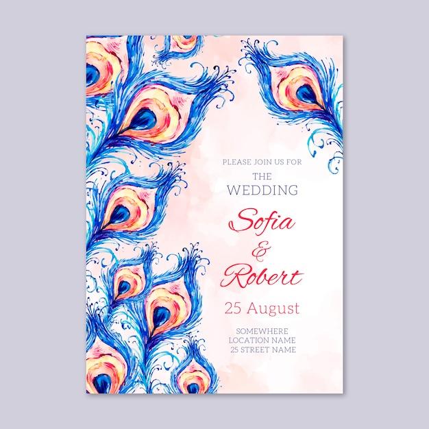 Uitnodiging voor bruiloft met pauwenveren sjabloon Gratis Vector