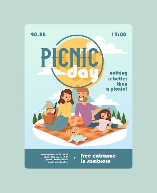 Uitnodiging voor een picknick dag familie-evenement aankondiging van buitenactiviteiten voor ouders met kinderen Premium Vector