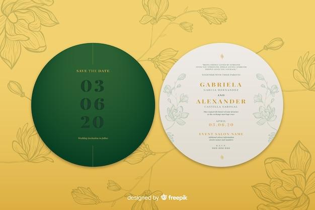 Uitnodiging voor eenvoudig ontwerp circulaire bruiloft Gratis Vector