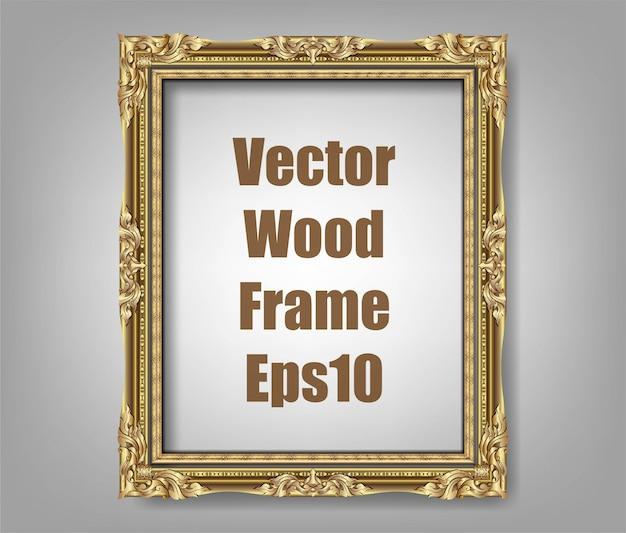 Uitnodiging voor gouden fotolijst vector ontwerp Premium Vector