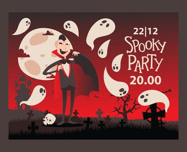 Uitnodiging voor halloween-feest in vampierstijl Premium Vector