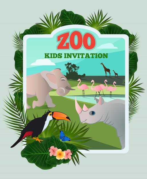 Uitnodiging voor kinderfeestje. vectoraffichemalplaatje met wilde grappige dieren en plaats voor uw tekst. z Premium Vector