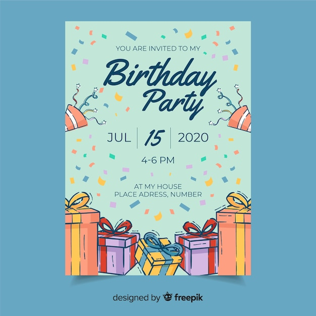 Uitnodiging voor verjaardagsfeestje met datum en tijd Gratis Vector