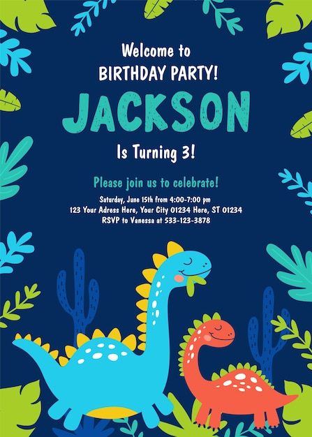 Uitnodiging voor verjaardagsfeestje van dinosaurus. Premium Vector