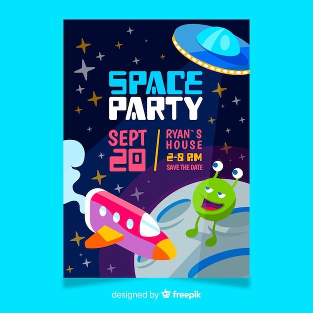 Uitnodiging voor verjaardagsfeestje voor kleine jongen met ruimtethema Gratis Vector