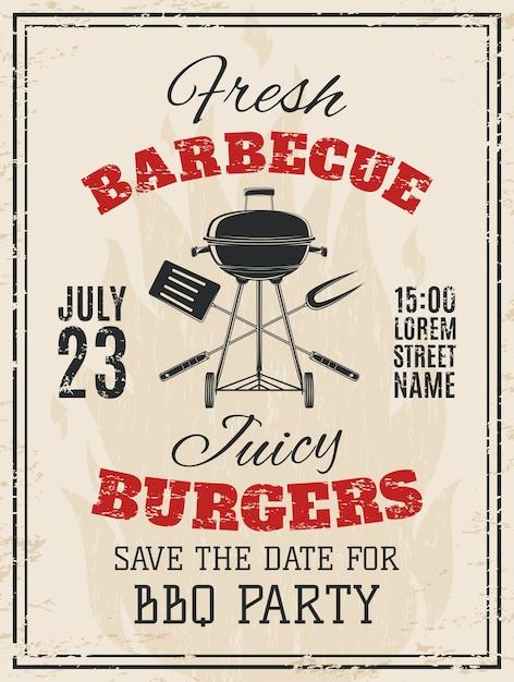 Uitnodiging voor vintage barbecue feest. bbq-voedsel folder sjabloon. illustratie. Premium Vector