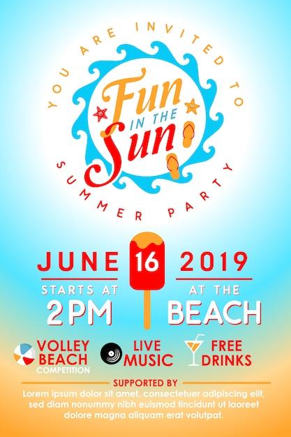 Uitnodiging zomerfeest Premium Vector