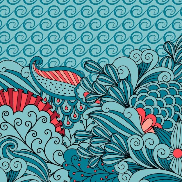 Uitnodigingskaart met blauw bloemenornament Premium Vector