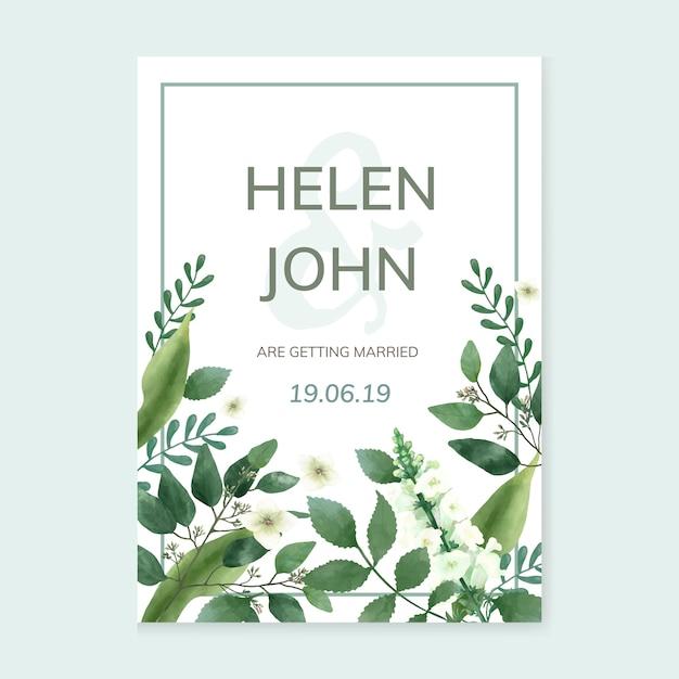 Uitnodigingskaart met een groen thema Gratis Vector
