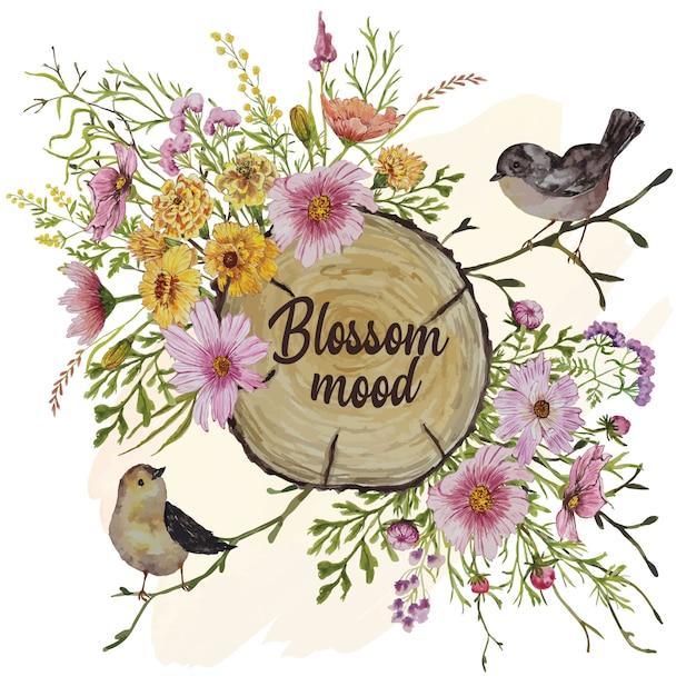 Uitnodigingskaart met vogels en herfstbloemen Premium Vector