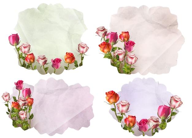 Uitnodigingskaarten met gedetailleerde bloemen. bestand opgenomen Premium Vector