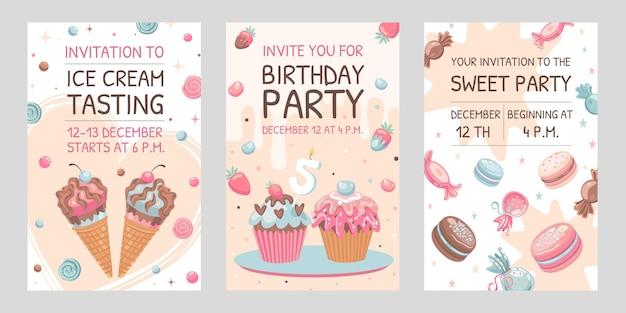 Uitnodigingskaarten met snoepjes. ijs, bitterkoekjes, verjaardag cupcakes illustraties Gratis Vector