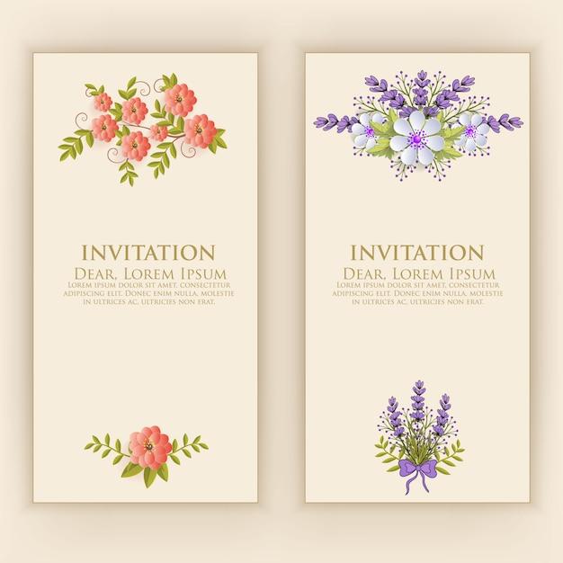 Uitnodigingskaartsjabloon met elegante bloemdecoratie Gratis Vector
