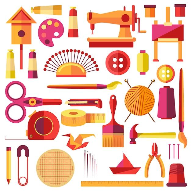 Uitrustingen vector poster voor naaien en handgemaakte Premium Vector