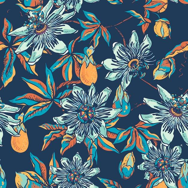 Uitstekend blauw bloemen natuurlijk naadloos patroon. passiflora textuur Premium Vector