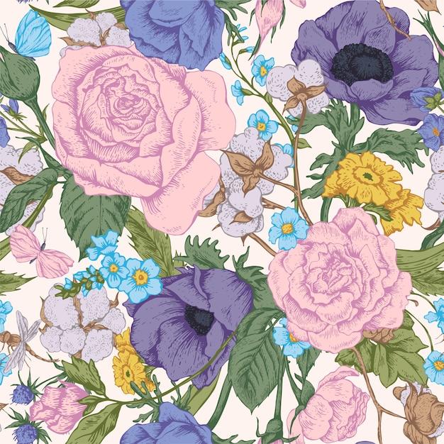 Uitstekend bloemen vector naadloos patroon met rozen Premium Vector