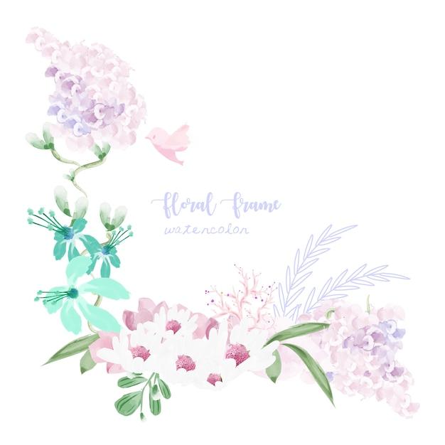 Uitstekend bloemenkader in waterverfstijl. Premium Vector