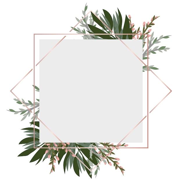 Uitstekend frame met bloemen Premium Vector