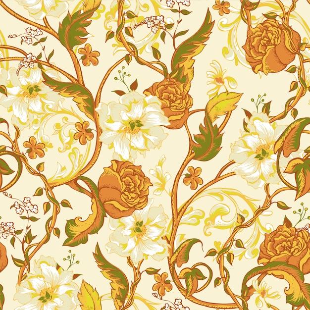 Uitstekend naadloos patroon met bloeiende magnolia's, rozen en takje Premium Vector