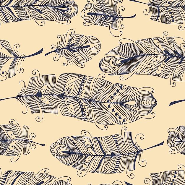 Uitstekend naadloos patroon met hand-drawn veren Premium Vector