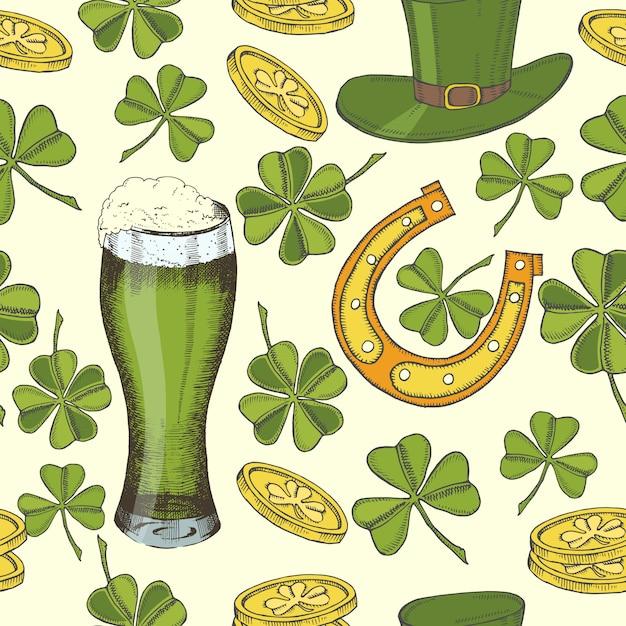 Uitstekend naadloos patroon voor st patrick dag. st. patrick's hoed, hoefijzer, klavertje vier, groen bier en gouden munten. Premium Vector