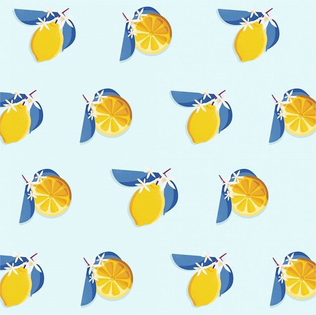 Uitstekend naadloos patroonontwerp met citroenplak Premium Vector