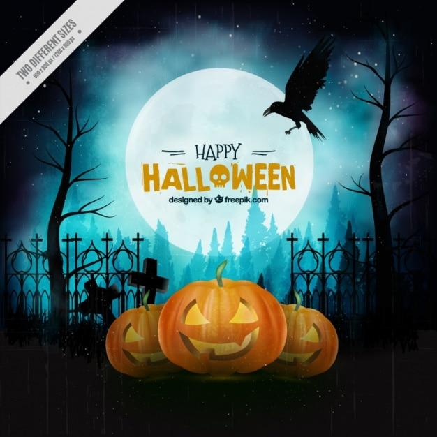 Uitstekende achtergrond voor een happy halloween Gratis Vector