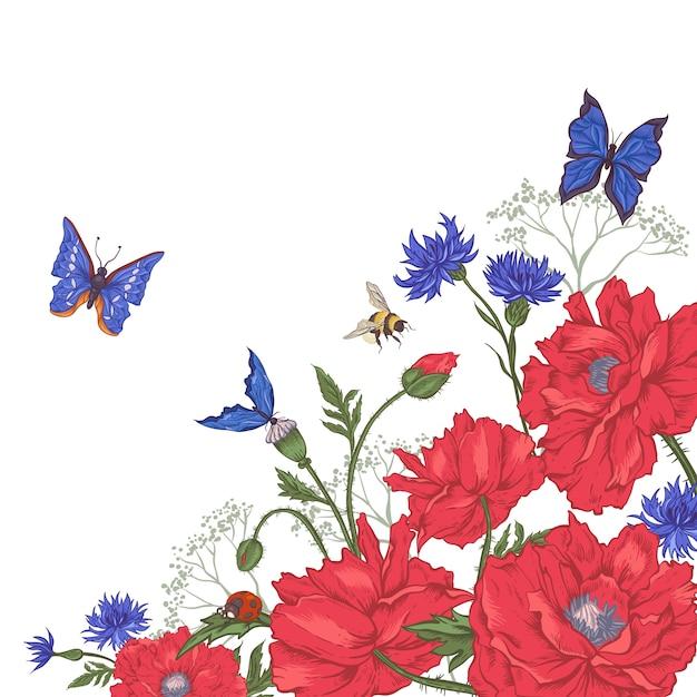 Uitstekende bloemenachtergrond met rozen en wilde bloemen Premium Vector
