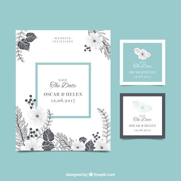 Uitstekende bruiloftuitnodiging met bloemen Gratis Vector
