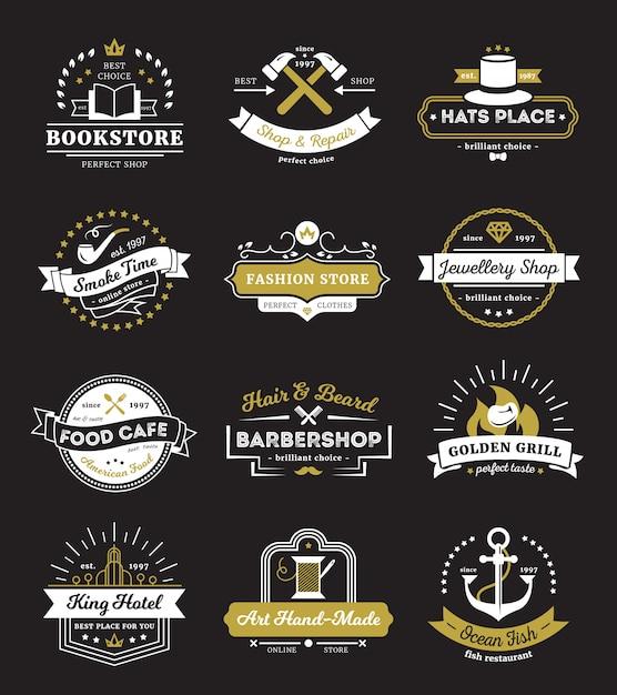 Uitstekende emblemen van het restaurant van hotelopslag en koffie met ontwerpelementen Gratis Vector