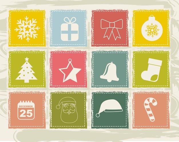 Uitstekende kerstmispictogrammen over beige vectorillustratie als achtergrond Premium Vector