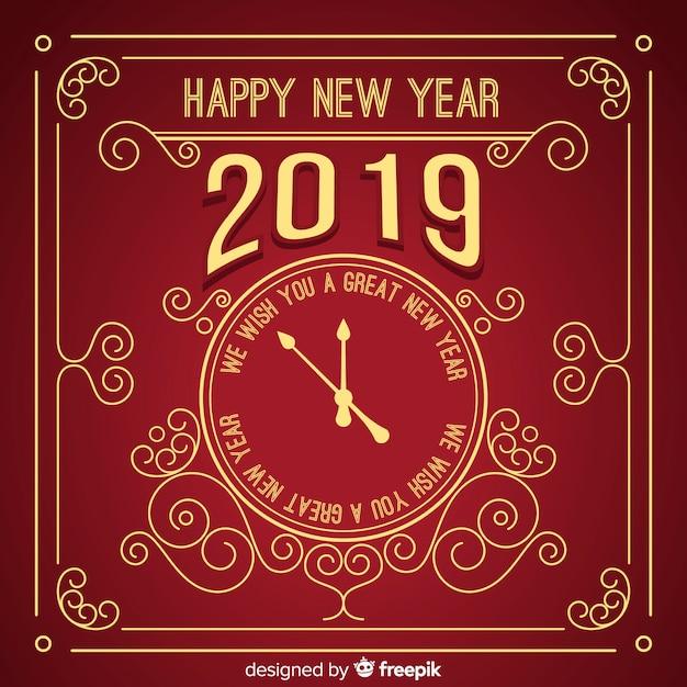 Uitstekende nieuwe jaar 2019 achtergrond Gratis Vector