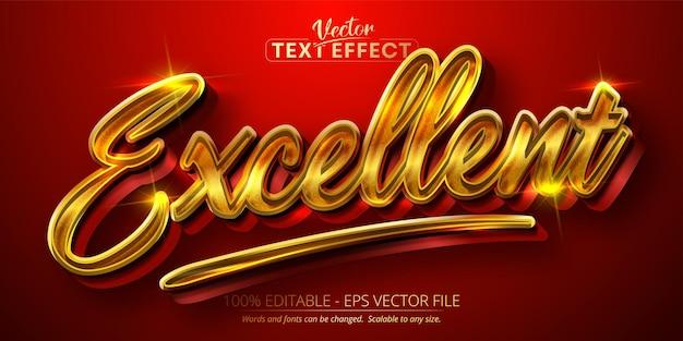 Uitstekende tekst, glanzend goudstijl bewerkbaar teksteffect Premium Vector
