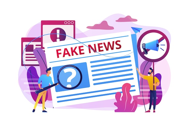 Uitzending van valse informatie. pers, krantenjournalisten, redacteuren. nepnieuws, ongewenste nieuwsinhoud, desinformatie in mediaconcept. Gratis Vector