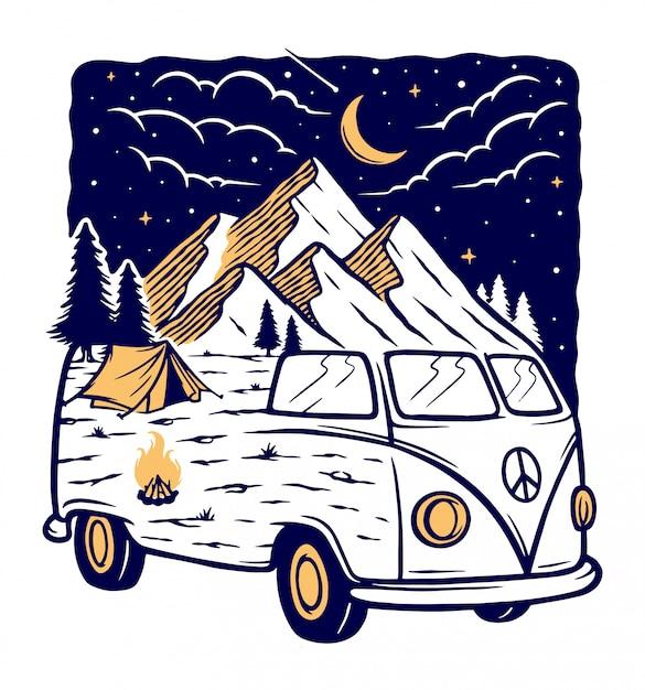 Uitzicht op de bergen en de auto bij nacht illustratie Premium Vector