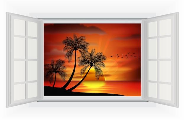 Uitzicht op de zonsondergang op het strand vanuit het raam Premium Vector