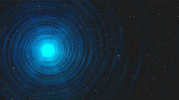 Ultra blue light spiral black hole op galaxy achtergrond. Premium Vector