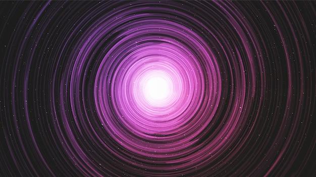 Ultra violetl zwart gat op melkwegachtergrond met melkwegspiraal Premium Vector