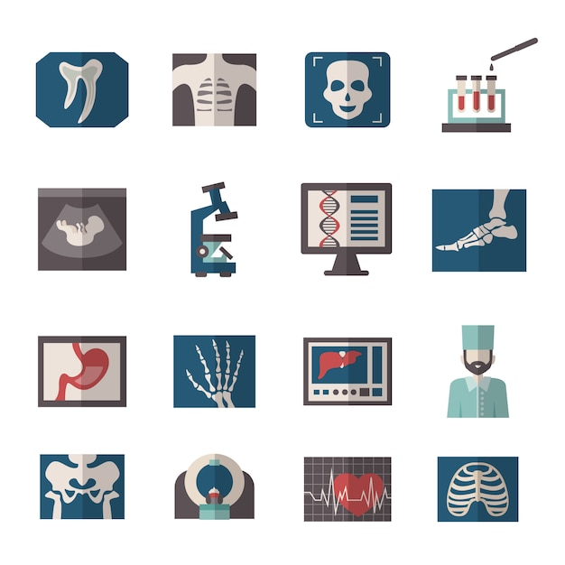 Ultrasound x-ray icons flat Premium Vector