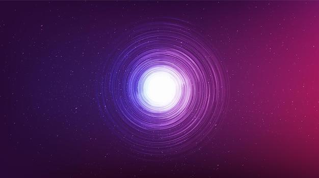 Ultraviolet zwart gat op galaxy-achtergrond. conceptontwerp van de planeet en natuurkunde, vectorillustratie. Premium Vector