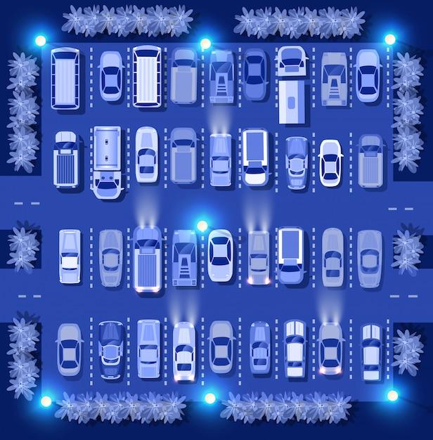 Ultraviolette auto's kaart bovenaanzicht Premium Vector