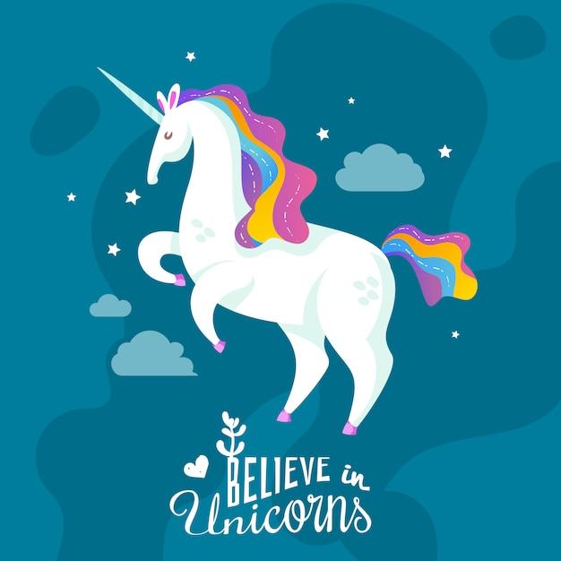 Unicorn cartoon achtergrond Gratis Vector