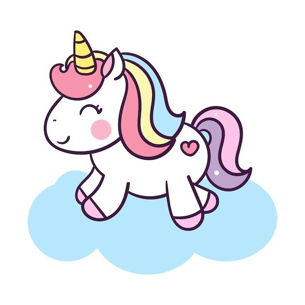 Unicorn cute cartoon illustration: series illustratie van heel schattig sprookjesachtige pony Premium Vector