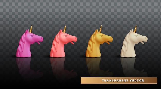 Unicorn hoofd realistische set gezicht eenhoorn transparante achtergrond Gratis Vector