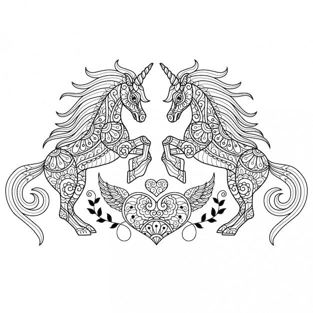 Unicorn love. hand getrokken schets illustratie voor volwassen kleurboek. Premium Vector