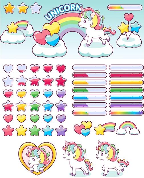 Unicorn regenboog pictogrammen ui ontwerpset Premium Vector