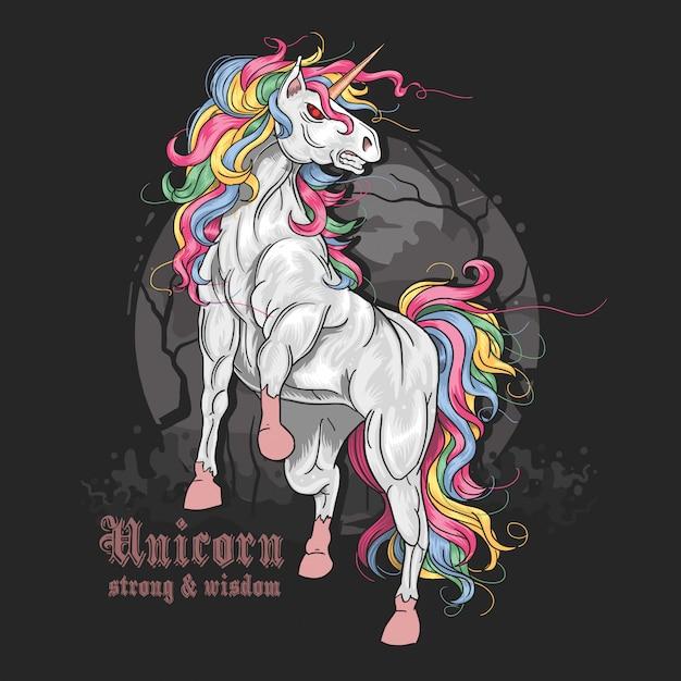 Unicorn volledige kleur boos vector Premium Vector