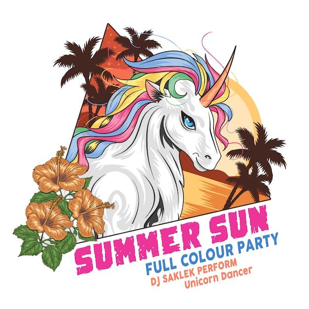 Unicorn zomerstrand coconut boom en bloem volledige kleurenvector Premium Vector